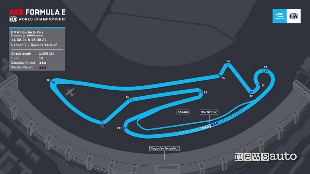 ePrix Berlino 2021 tracciato Tempelhof