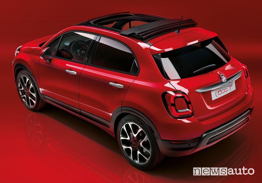 Vista posteriore Fiat 500X RED