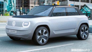 Vista di profilo Volkswagen ID.LIFE concept car in movimento