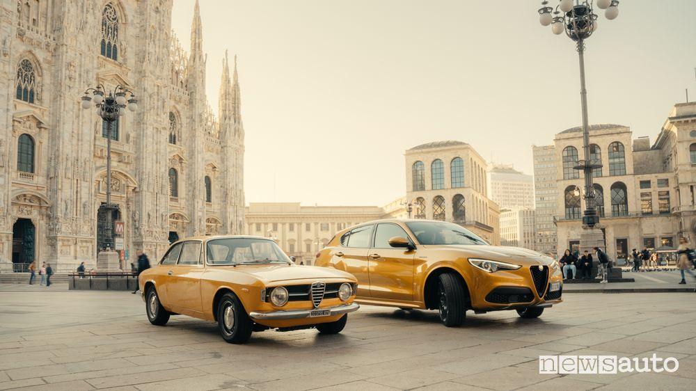 Alfa Romeo Giulia 1300 Junior e lo Stelvio GT Junior serie speciale a Milano Piazza del Duomo