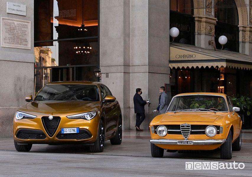 Alfa Romeo Stelvio GT Junior serie speciale con la Giulia 1300 Junior a Milano