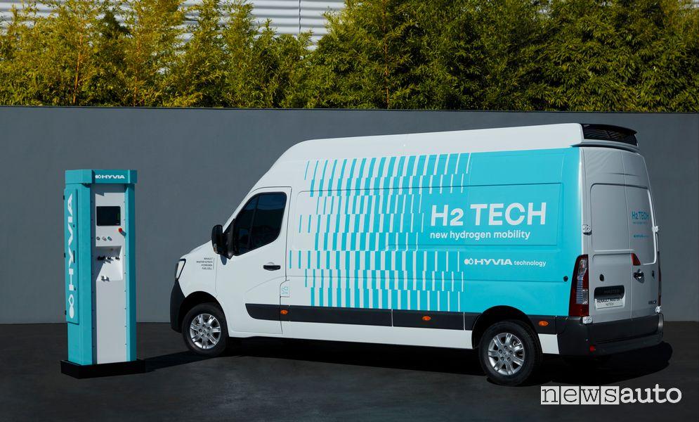 Vista posteriore Renault Master Van H2-TECH ad idrogeno