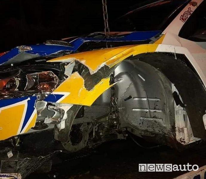 Incidente Capirossi Rallylegend 2021 Skoda Fabia R5 distrutta